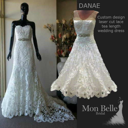 DANAE custom design unique lace tea length wedding dress