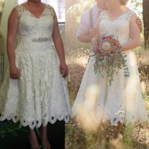 DANAE unique laser cut lace tea length wedding dress