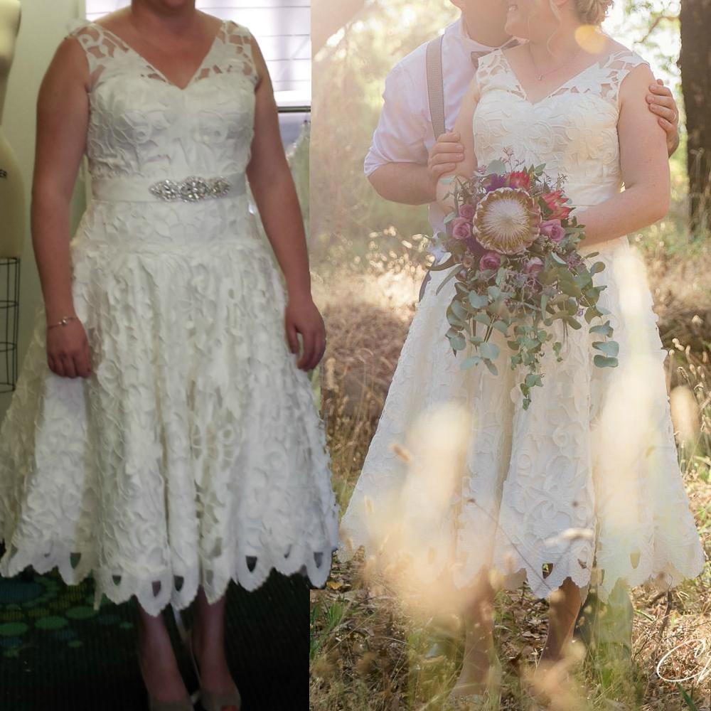 Danae Unique Laser Cut Lace Tea Length Wedding Dress Mon Belle Bridal