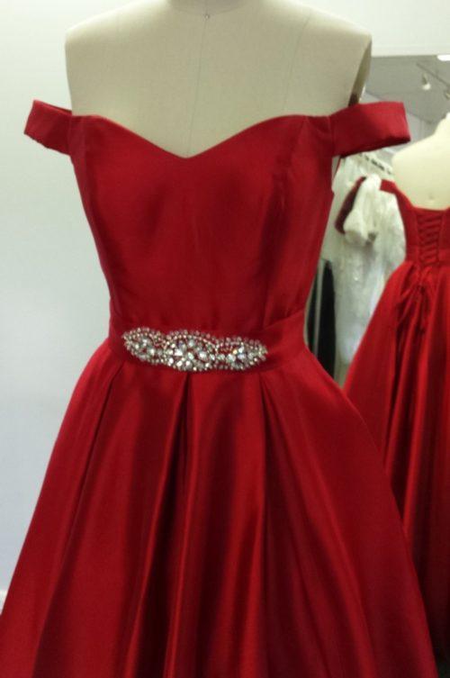 Drop Sleeves Beaded Motif Belt Princess Ball Gown LL2920