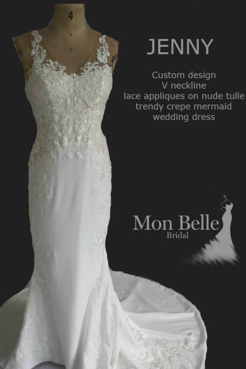 Jenny custom design lace over crepe mermaid wedding dress