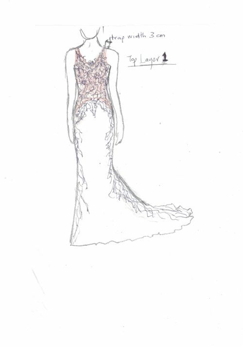 Jenny custom design wedding dress quick sketch