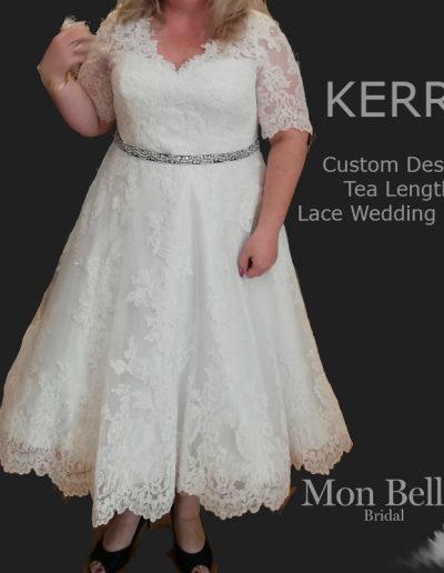 KERRY custom design tea length lace wedding dress with sleeves LL18855