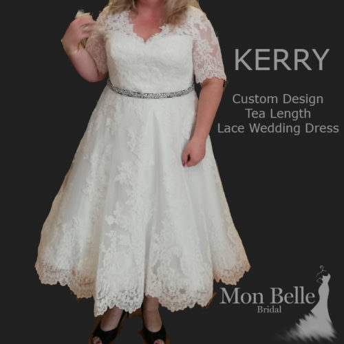 KERRY custom design tea length lace wedding dress with sleeves LL18855
