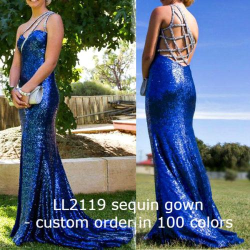 LL2119 custom color sequin evening dresses
