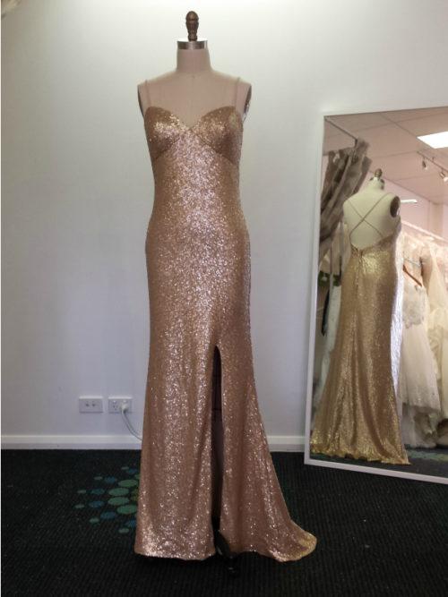 Sequin evening dress with modest slit LL031