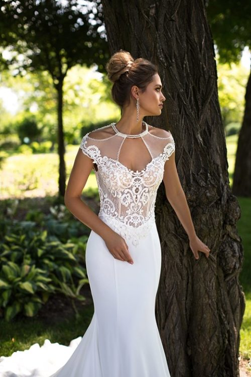 Majestic beautiful neckline slimfit mermaid wedding dresses ID1091