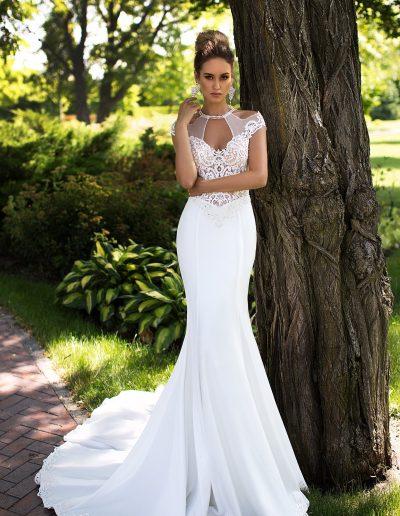 Majestic unique neckline mermaid crepe wedding dress ID1091