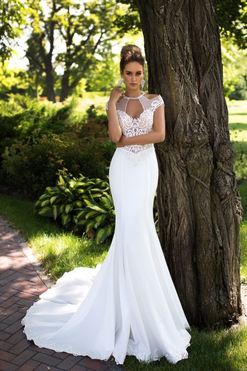 Majestic unique neckline mermaid crepe wedding dress ID1091