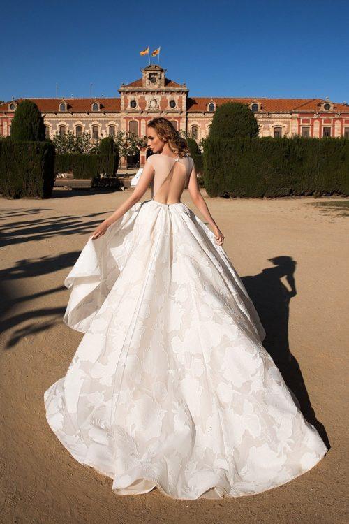 Monique illusion low back modern wedding dress with train ID1133