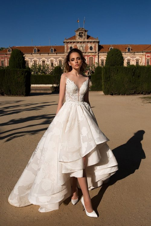 Monique trendy princess high low wedding dresses ID1133