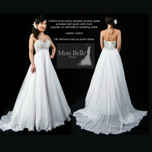 O1693 embriodery beaded empire waistprincess ball gown with train or without train