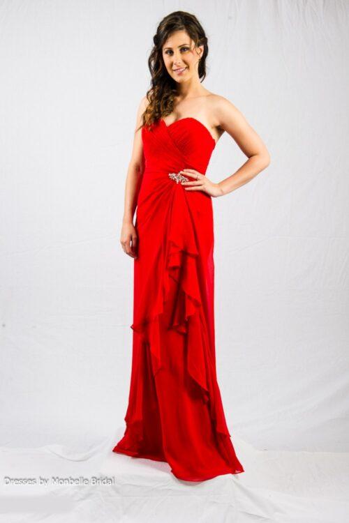 O2338 red bridesmaids evening dress