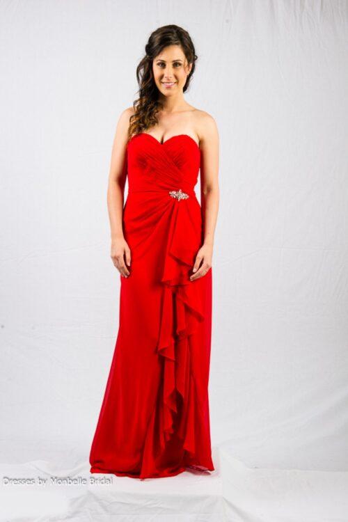 O2338 sweetheart neckline bridesmaids evening dress with frills