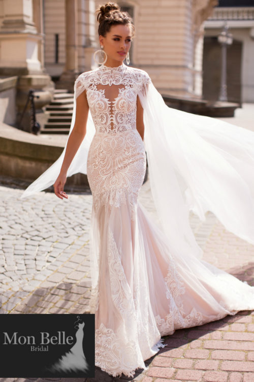 REGAL unique wedding dress with majestic cape LR18039