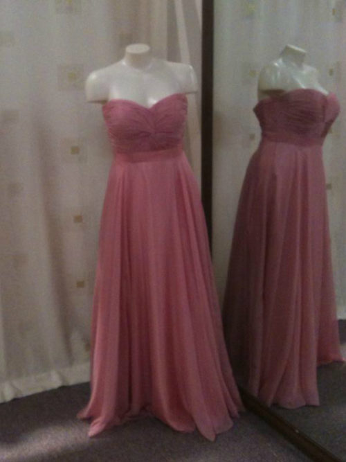 Custom made sweetheart twist knot dusty pink bridesmaid dresses LL007
