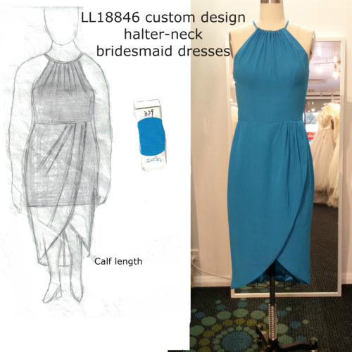 Katrina custom design halter-neck bridesmaid dresses LL18846