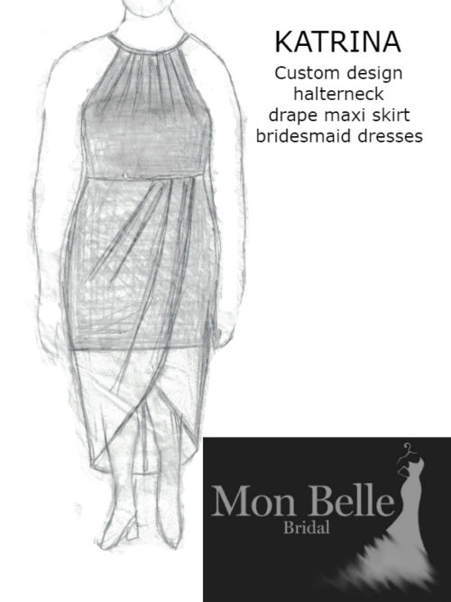 Katrina custom design halterneck drape maxi skirt bridesmaid dresses LL18846