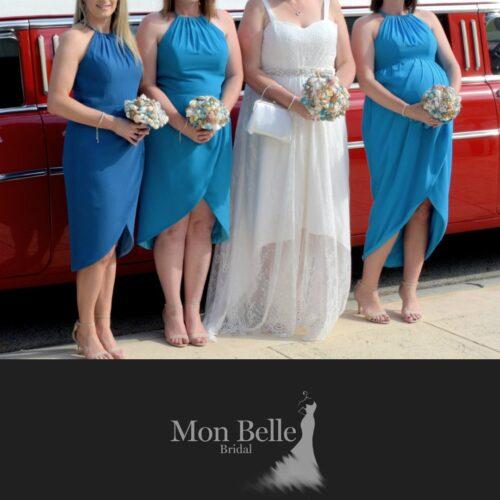 Katrina sea blue tone bridesmaid dresses