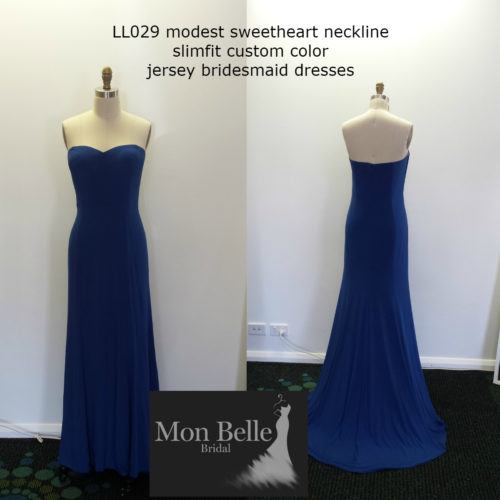 LL029 slimfit custom color jersey bridesmaid dresses