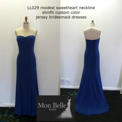 LL029 slimfit custom color jersey bridesmaid dresses