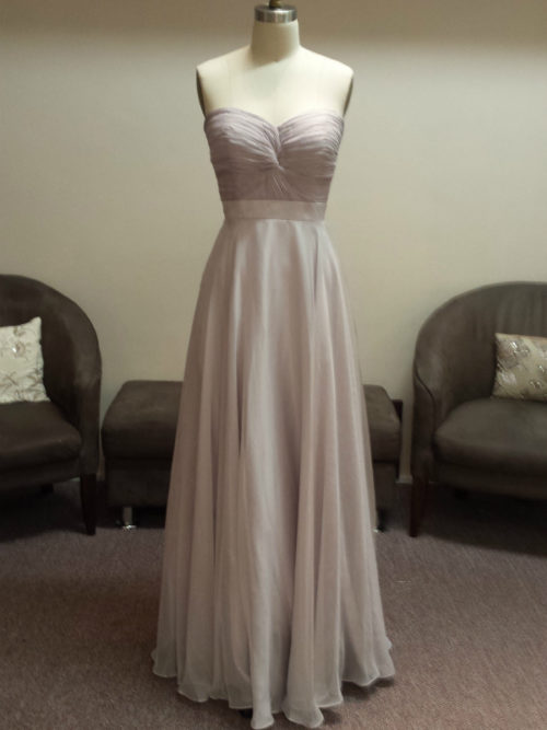 Strapless Sweetheart neckline twist knot ruched bodice bridesmaid dress LL007