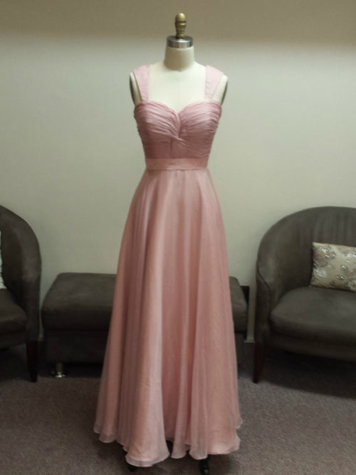 Sweetheart twist knot ruched bodice bridesmaid dress with plain V-straps