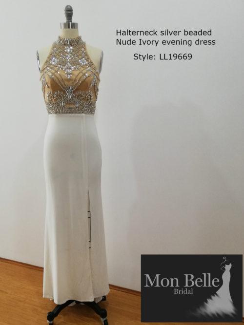 Halterneck silver beaded nude ivory evening dress LL19669