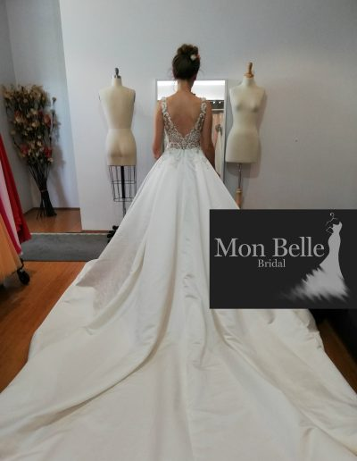 KRYSTYNA custom design illusion V back satin wedding gown with cathedral train