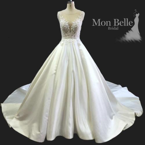 Krystina Custom design plunging V neckline princess satin wedding dress