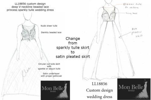 Krystyna Change from sparkly tulle skirt to satin pleated skirt