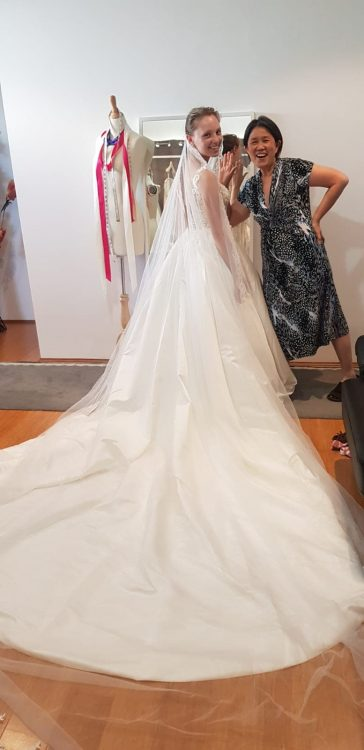 Krystyna having fun at first fitting with Lindsey