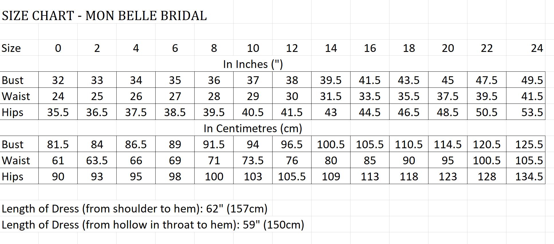 Size Chart - Mon Belle Bridal