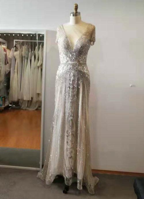 AnneMarie illusion V neckline heavily beaded wedding dress