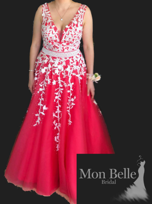 LL19870 custom design lace applique ball gown
