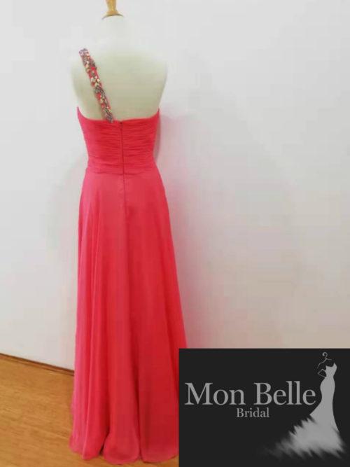 O2319 1-shoulder evening dress zip back