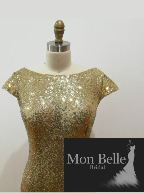 Gold Sequin Boat Neck Cap Sleeves Evening Dress LL19874