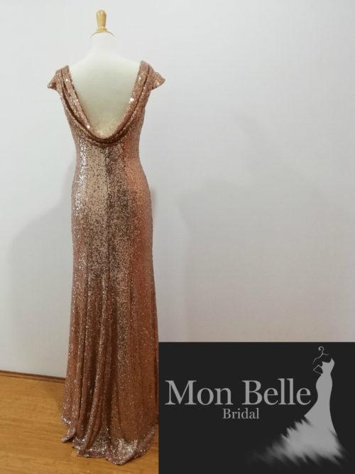 Orange Gold Sequins Cowl Back Cap Sleeves Evening Dress LL19874