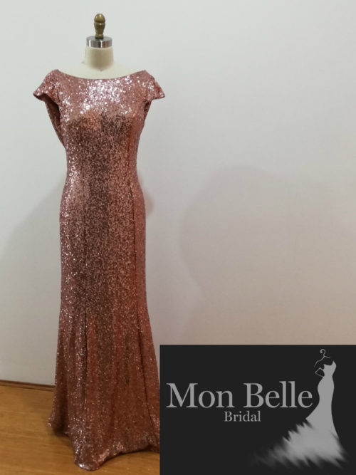Rose Gold Sequin Cowl Back Cap Sleeves Evening Dresses LL19874