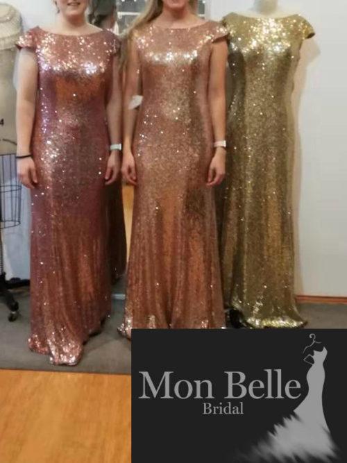 Sequins boatneck cap sleeves bridesmaid dresses LL19874