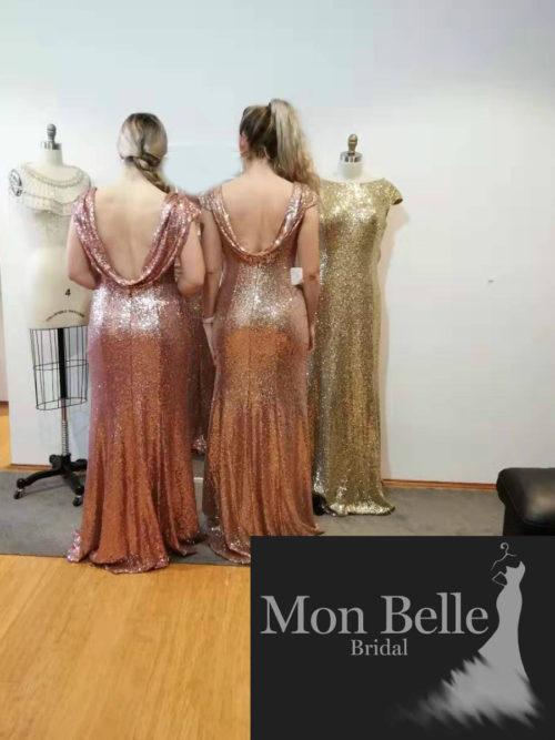 Sequins cowl back bridesmaid dresses LL19874