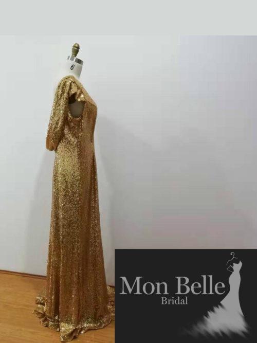 Vibrant Gold Cowl Back Evening Dress LL19874