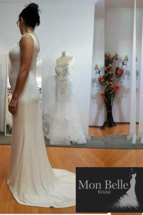 DANIELLE custom design maternity wedding dress with train LL19876