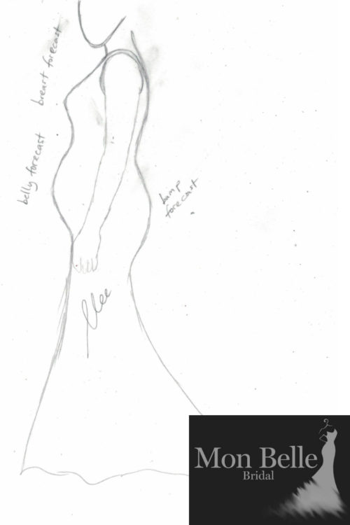 DANIELLE maternity wedding dress sketch LL19876