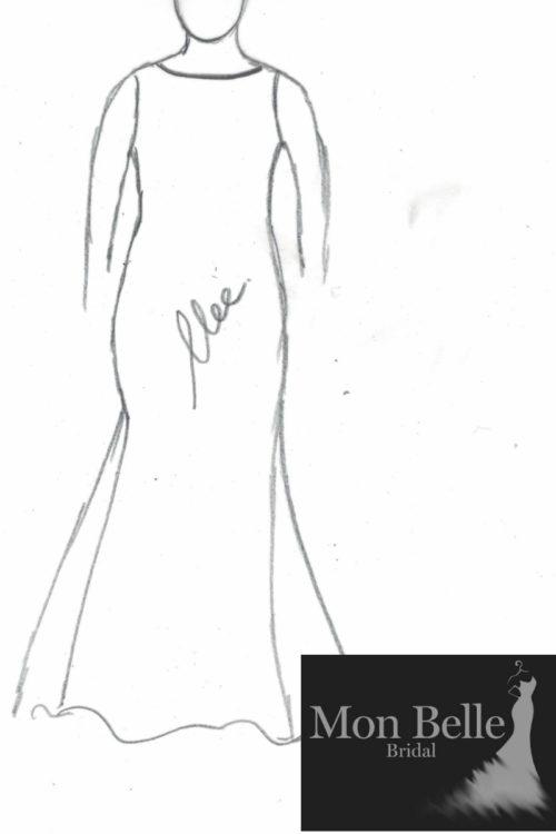 Danielle boat neck jersey wedding dress LL19876