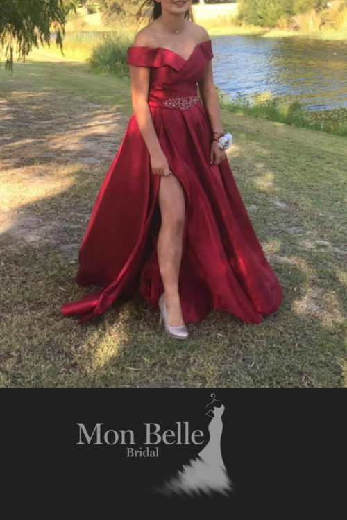 HEATHER custom design drop sleeves satin ball gown with slit