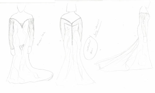 Quick sketch of wedding dress for RAVE