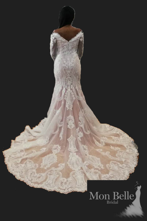RAVE heavily beaded lace long sleeves mermaid wedding dress LL1877