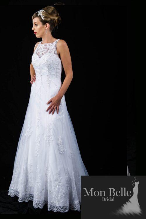 JULIE boat neck lace wedding dressC1369