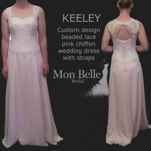KEELEY custom design beaded lace pink chiffon wedding dress